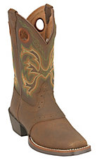 Justin Stampede Youth Dark Brown Saddle Vamp Square Toe Western Boots