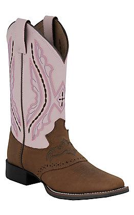 XAN JustinChildren's Bay Westerner with Saddle Vamp Pink Cowhide