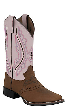 Justin Youth Bay Brown and Pink Cowhide with Saddle Vamp Punchy Toe Western Boot