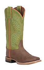 Justin Youth Cognac with Green Square Toe Western Boots