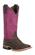 Justin Youth Chocolate Brown with Pink Square Toe Western Boots