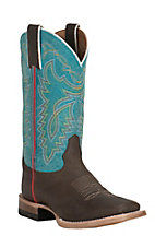 Justin Youth Chocolate Brown with Blue Square Toe Western Boots