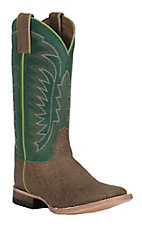 Justin Youth Light Brown with Green Square Toe Western Boot