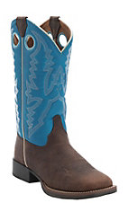 Justin Youth Chocolate Buffalo w/Blue Top Square Toe Western Boots