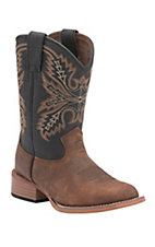 Justin Bent Rail Kids Coyote Brown with Midnight Top Square Toe Western Work Boots