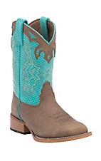 Justin Bent Rail Youth Sand Brown with Turquoise Diamond Top Square Toe Western Work Boots