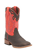 Justin Bent Rail Youth Dark Brown with Orange Diamond Top Square Toe Western Work Boots