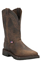 Justin Original Workboots Men's Tan Crazyhorse JMAX Square Steel Toe Pull On Work Boots