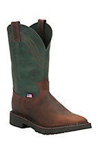 Justin Original Workboots Men's Evergreen and Zulu J-Max Pull On Square Toe Work Boot