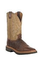 Justin Original Workboots JMAX Caliber Apache and Bone Square Steel Toe Pull On Work Boots