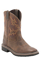Justin Junior Stampede Kids Rugged Tan JOW Square Toe Western Work Boots