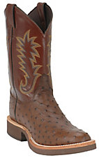 XKH Justin Tekno Crepe Mens Antique Brown Full Quill Ostrich Exotic Crepe Sole Boots