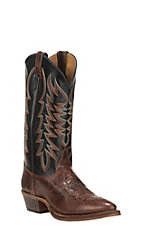 Justin Bent Rail Men's Brown Foot with Black Upper Performance Sole R Toe Western Boots