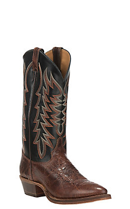 Justin Men's Bent Rail Performance Keaton Brown and Black R-Toe Western Boot