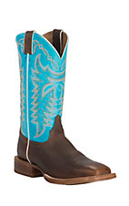 Justin CPX Men's Whiskey Mustang with Circo Blue Top Double Welt Square Toe Western Boots