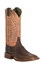 Justin Bent Rail CPX Men's Grizzly Chocolate with Orange Mojave Top Double Welt Square Toe Western Boots