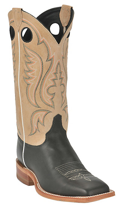 3368344fd38 Justin Bent Rail Men's Black with Toast Brown Square Toe Western Boots