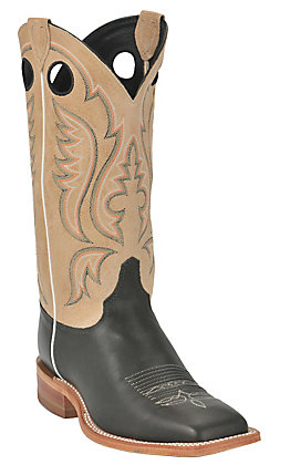 Justin Bent Rail Men's Stillwater Black Wide Square Toe Western Boots