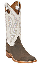Justin Bent Rail Men's Chocolate Brown Bison w/ White Top Square Toe Western Boot