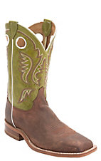Justin Bent Rail Men's Cognac Brown w/Green Top Double Welt Square Toe Western Boot