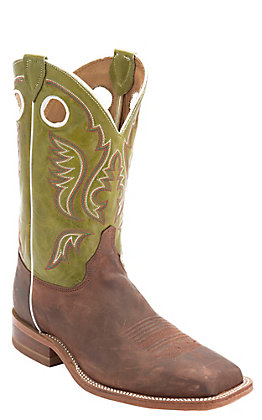 Justin Bent Rail Men's Cognac Brown and Green Square Toe Western Boot