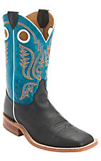 Justin Bent Rail Men's Black Chester w/ Blue Top Double Welt Square Toe Western Boot