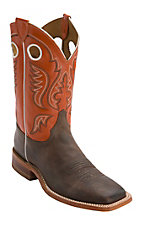 Justin Bent Rail Men's Chocolate w/ Light Orange Top Square Toe Western Boots