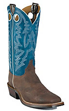 Justin Bent Rail Men's Chocolate Puma w/ Blue Top Square Toe Western Boots