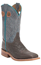 Justin Bent Rail Men's Chocolate Java Wildebeest w/Blue Wash Top Double Welt Square Toe Western Boots