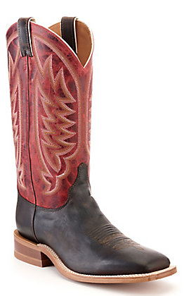 Justin Men's Bent Rail Dark Chocolate Brown and Cherry Red Wide Square Toe Western Boot