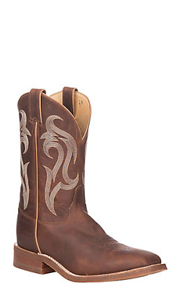 Justin Bent Rail Men's Bender Brown Wide Square Toe Western Boots