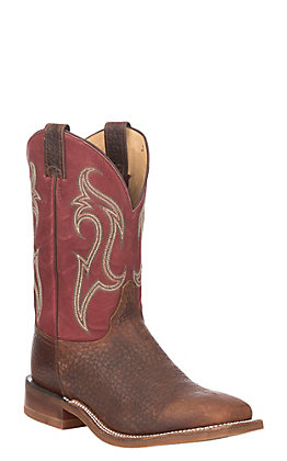 Justin Men's Bent Rail Bender Whiskey and Brick Red Wide Square Toe Western Boots