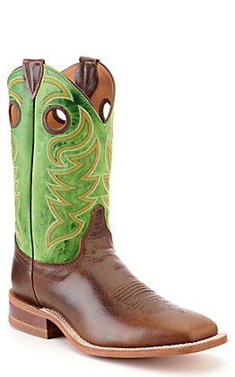 Justin Bent Rail Men's Taupe Brown and Green Wide Square Toe Western Boot