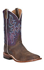 Justin Bent Rail Men's Brown with Grape Top Double Welt Square Toe Western Boots