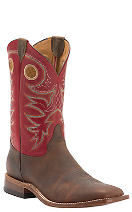 Justin Bent Rail Men's Austin Red Wide Square Toe Western Boots