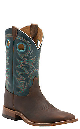 Justin Bent Rail Men's Austin Teal Wide Square Toe Western Boots