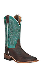 Justin Bent Rail Men's Brown with Turquoise Top Double Welt Square Toe Western Boots