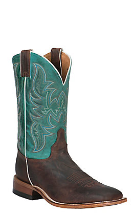 Justin Men's Bent Rail Austin Brown and Turquoise Wide Square Toe Western Boot