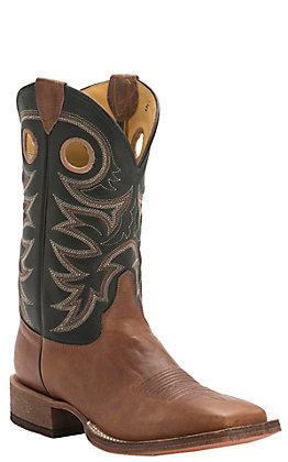 Justin Men's Bent Rail Caddo Brown Tobacco and Black Wide Square Toe Western Boots