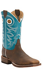 Justin Bent Rail Men's Copper with Bright Blue Top Double Welt Square Toe Western Boots