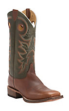 Justin Bent Rail Men's Copper with Moss Top Performance Sole Square Toe Western Boots