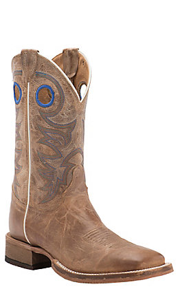 Justin Men's Bent Rail Caddo Beige Wide Square Toe Western Boots