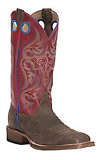 Justin Men's Distressed Brown Ostrich Print with Red Upper Square Toe Western Boot