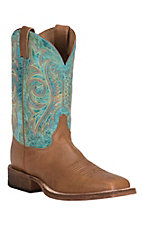 Justin Bent Rail Men's Tan with Aqua Upper Square Toe Western Boots