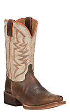 Justin Bent Rail Performance Men's Light Brown with White Punchy Toe Western Boots