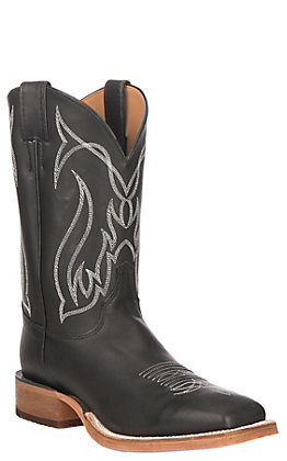 Justin Men's Bent Rail Black Leather Stockman Western Square Toe Boot