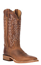 Justin Men's Bent Rail Brentwood Brown Leather Stockman Western Square Toe Boot