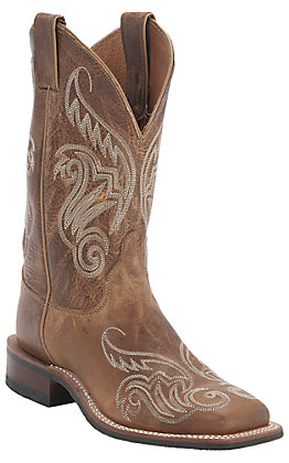 Justin Women's Bent Rail Tan Damiana Fancy Stitch Double Welt Wide Square Toe Western Boots