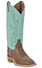 Justin Bent Rail Ladies Chocolate w/ Sea Green Top Square Toe Western Boot