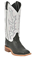 XEMJustin Bent Rail Ladies Black w/ White Top Square Toe Western Boot